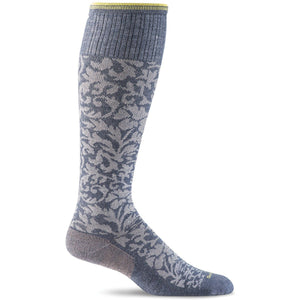 Women's Damask Graduated Compression Socks-Sockwell-Denim-S/M-Uncle Dan's, Rock/Creek, and Gearhead Outfitters