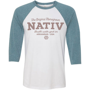 Homegrown Raglan 3/4 Sleeve Tee-Nativ-Raglan White/Denim-L-Uncle Dan's, Rock/Creek, and Gearhead Outfitters