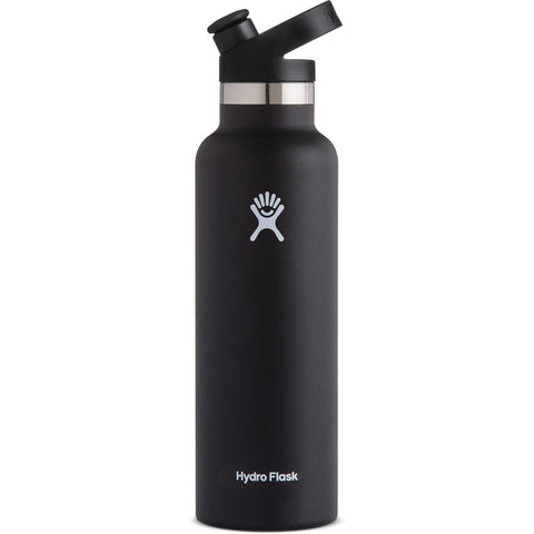 Hydro Flask 21 oz Standard Mouth Water Bottle with Sport Cap-S21ST001_Black