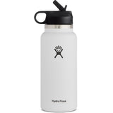 Hydro Flask 32 oz Wide Mouth Water Bottle with Straw Lid-W32BSW110_White