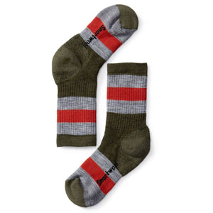 Kids Striped Hike Medium Crew Socks-Smartwool-Loden-S-Uncle Dan's, Rock/Creek, and Gearhead Outfitters