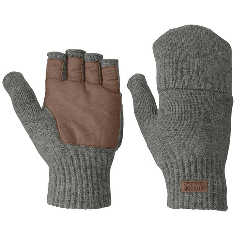 Men's Lost Coast Fingerless Mitt-Outdoor Research-Pewter-M-Uncle Dan's, Rock/Creek, and Gearhead Outfitters
