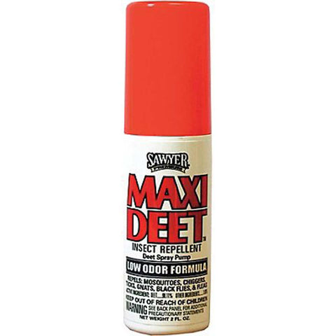 MAXI-DEET 100% Low Odor Insect Repellent Spray Pump 2oz
