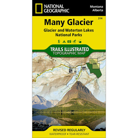 Many Glacier: Glacier And Waterton Lakes National Parks Map-National Geographic Maps-Uncle Dan's, Rock/Creek, and Gearhead Outfitters