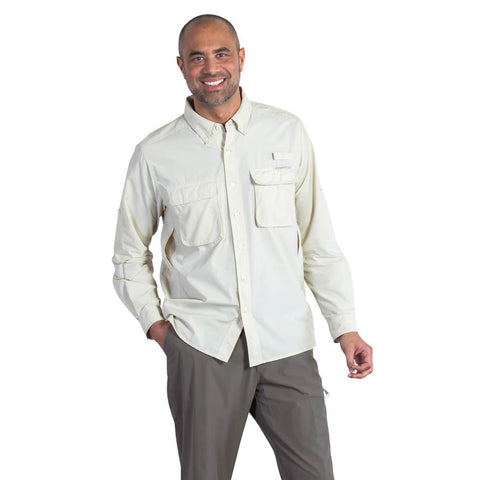 Men's Air Strip Long Sleeve Shirt-ExOfficio-Bone-S-Uncle Dan's, Rock/Creek, and Gearhead Outfitters