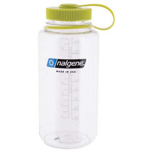 32 oz Wide Mouth Bottle-Nalgene-Clear w/ Green Lid-Uncle Dan's, Rock/Creek, and Gearhead Outfitters