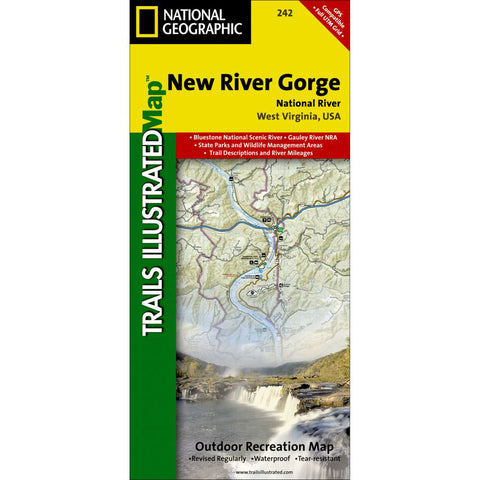 New River Gorge National River Map-National Geographic Maps-Uncle Dan's, Rock/Creek, and Gearhead Outfitters