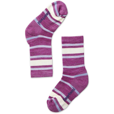 Kids' Striped Light Hiking Crew Socks-Smartwool-Light Gray-Black-S-Uncle Dan's, Rock/Creek, and Gearhead Outfitters
