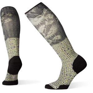Women's Compression Sightseeing Sunflower Print OTC Socks-Smartwool-Charcoal-M-Uncle Dan's, Rock/Creek, and Gearhead Outfitters