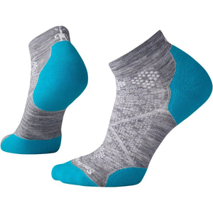Women's PhD Run Light Elite Low Cut Socks-Smartwool-Light Gray-Capri Blue-S-Uncle Dan's, Rock/Creek, and Gearhead Outfitters