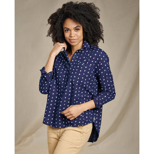 Women's Indigo Wells Long Sleeve Popover-Toad&Co.-Dark Indigo V Print-XL-Uncle Dan's, Rock/Creek, and Gearhead Outfitters