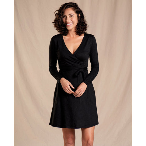 Women's Cue Wrap Long Sleeve Dress - Clearance-Toad&Co-Black-XS-Uncle Dan's, Rock/Creek, and Gearhead Outfitters