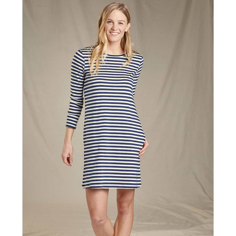 Women's Windmere II Long Sleeve Dress - Clearance-Toad&Co-Egret Stripe-XS-Uncle Dan's, Rock/Creek, and Gearhead Outfitters