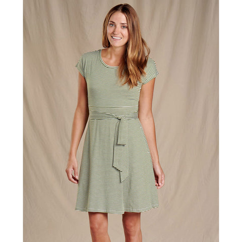 Women's Cue Wrap Short Sleeve Dress-Toad&Co.-Bronze Green Stripe-M-Uncle Dan's, Rock/Creek, and Gearhead Outfitters