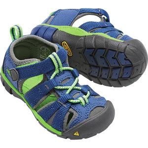 Toddlers Seacamp II CNX Sandal-KEEN-True Blue Jasmine Green-4-Uncle Dan's, Rock/Creek, and Gearhead Outfitters