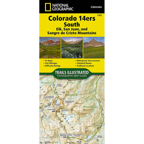 Trails Illustrated Map: Colorado 14ers South (San Juan, Elk, and Sangre de Cristo Mountains)-National Geographic Maps-Uncle Dan's, Rock/Creek, and Gearhead Outfitters
