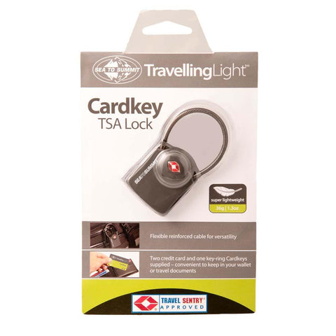 Travelling Light TSA Travel Lock-Cardkey with Cable-Sea to Summit-Uncle Dan's, Rock/Creek, and Gearhead Outfitters