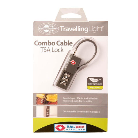 Travelling Light TSA Travel Lock-Combination with Cable-Sea to Summit-Uncle Dan's, Rock/Creek, and Gearhead Outfitters
