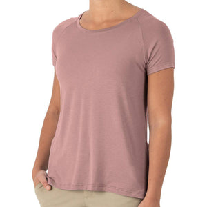 Women's Bamboo Explorer Tee-Free Fly-Light Sangria-XS-Uncle Dan's, Rock/Creek, and Gearhead Outfitters
