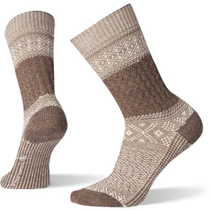 Women's Garter Stitch Texture Crew Socks-Smartwool-Taupe-M-Uncle Dan's, Rock/Creek, and Gearhead Outfitters