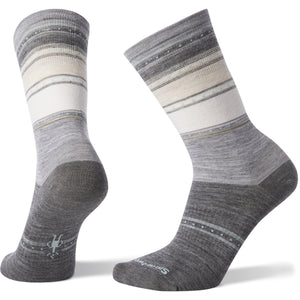 Women's Sulawesi Stripe Crew Socks-Smartwool-Light Gray-L-Uncle Dan's, Rock/Creek, and Gearhead Outfitters