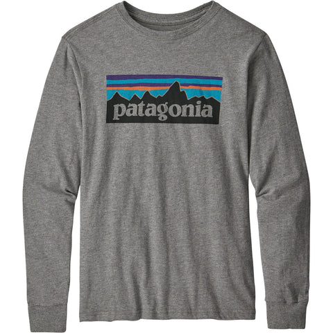 Patagonia Boys' Long-Sleeved Graphic Organic T-Shirt-62229_P-6 Logo: Gravel Heather