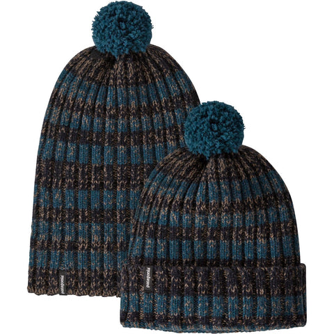 Wool Pom Beanie - Clearance-Patagonia-Alfalfa Stripe: Crater Blue-Uncle Dan's, Rock/Creek, and Gearhead Outfitters