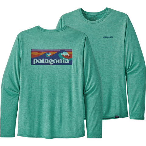 Men's Long-Sleeved Capilene Cool Daily Graphic Shirt-Patagonia-Boardshort Logo White-XS-Uncle Dan's, Rock/Creek, and Gearhead Outfitters