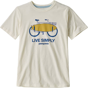 Patagonia Boys' Graphic Organic Cotton T-Shirt-62151_Live Simply Amphibious Bike: White Wash
