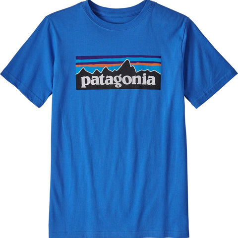 Patagonia Boys' P-6 Logo Organic Cotton T-Shirt-62153_Gravel Heather w/White