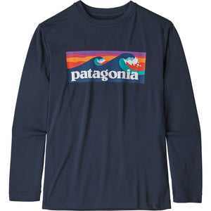 Patagonia Boys' Long-Sleeved Capilene Cool Daily T-Shirt-62395_Boardshort Logo: New Navy