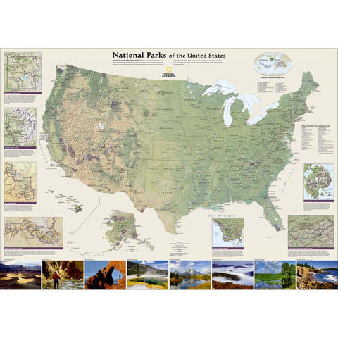 Wall Map: National Parks Of The United States, Tubed-National Geographic Maps-Uncle Dan's, Rock/Creek, and Gearhead Outfitters