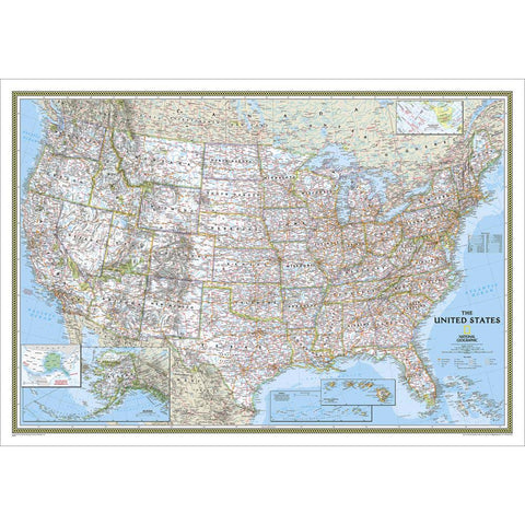 Wall Map: United States Classic, Tubed-National Geographic Maps-Uncle Dan's, Rock/Creek, and Gearhead Outfitters