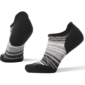 Women's PhD Run Light Elite Striped Micro Socks-Smartwool-Black Light Gray-M-Uncle Dan's, Rock/Creek, and Gearhead Outfitters