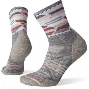 Women's PhD Outdoor Light Pattern Hiking Mid Crew Socks-Smartwool-Light Gray-S-Uncle Dan's, Rock/Creek, and Gearhead Outfitters