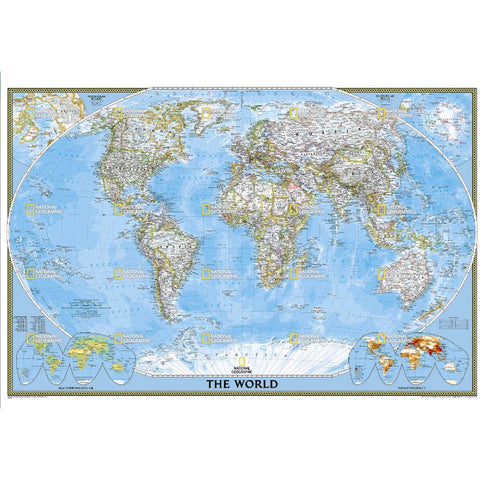 World Classic Map Poster Size (Tubed)-National Geographic Maps-Uncle Dan's, Rock/Creek, and Gearhead Outfitters