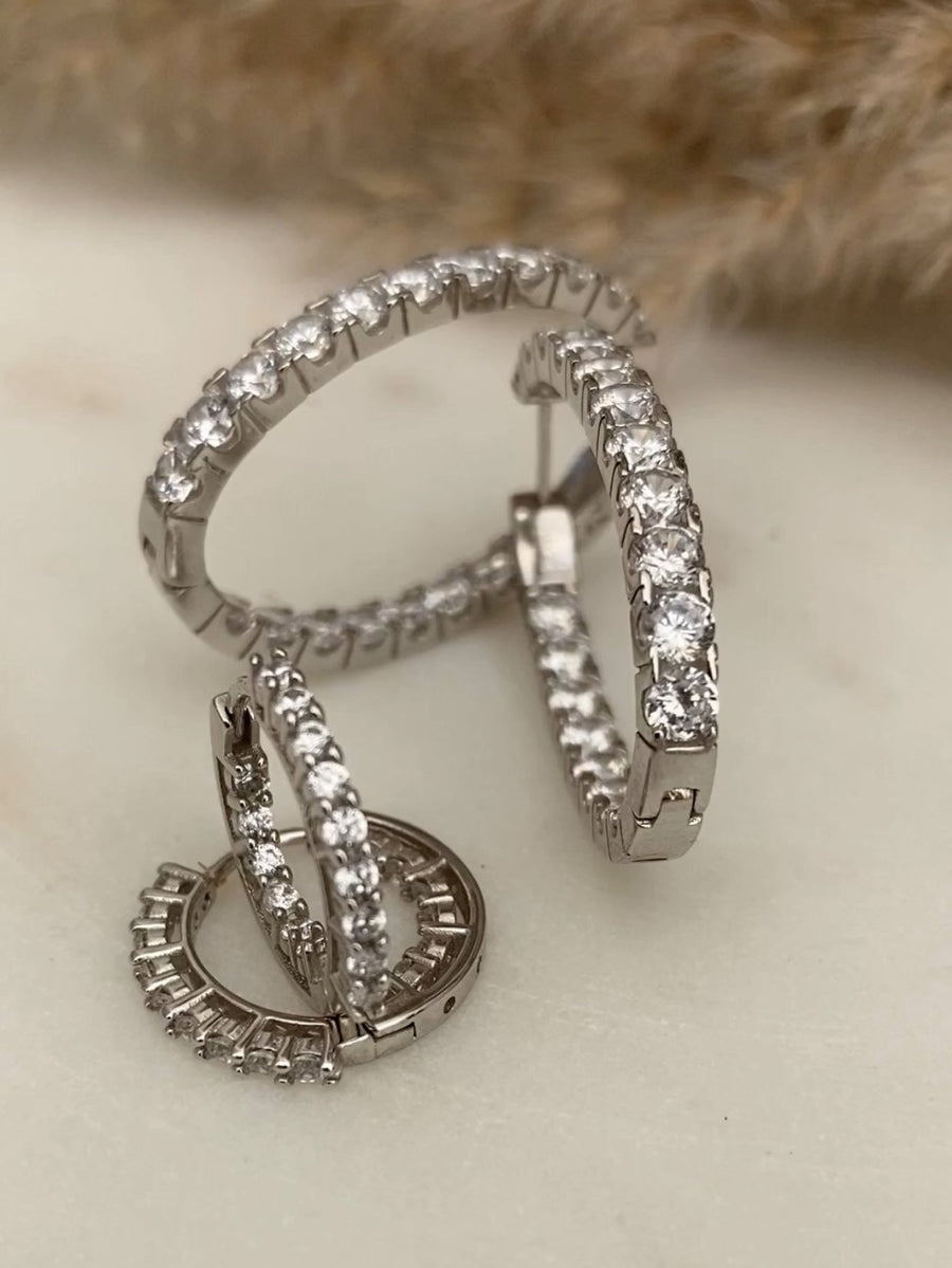 Crystal Sterling Hoops - Shedean Jewelz
