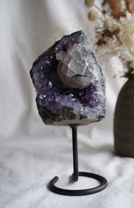Amethyst cluster on metal stand #8
