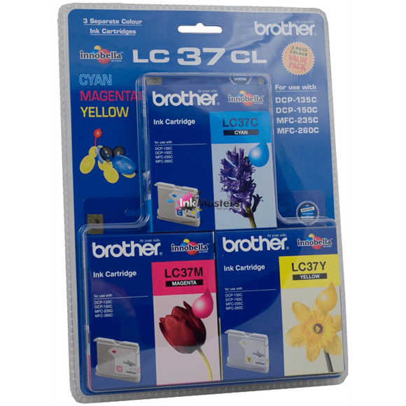 Brother LC-37 Cyan, Magenta & Yellow Colour Pack - 300 pages each-Blueprint Toners