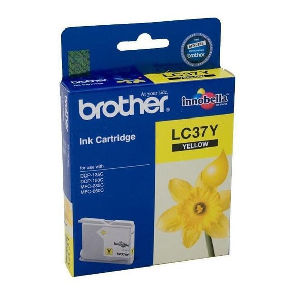 Brother LC-37Y Yellow Ink Cartridge - 300 pages-Blueprint Toners