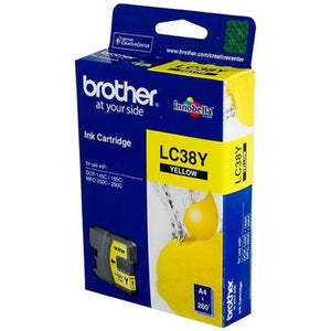 Brother LC-38Y Yellow Ink Cartridge - 260 pages-Blueprint Toners