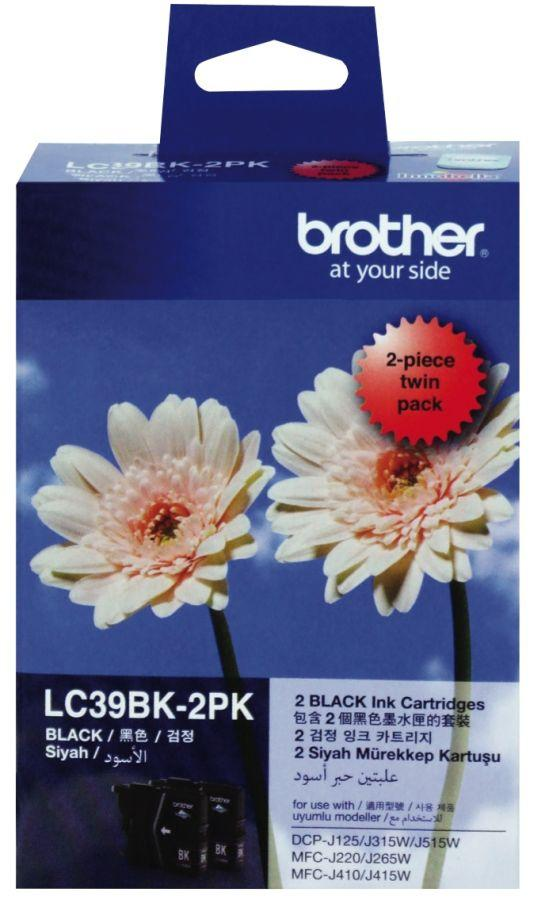 Brother LC-39BK Black Ink Cartridge - Twin pack 300 pages each-Blueprint Toners