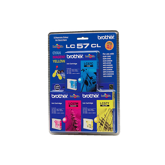 Brother LC-57CL3PK Cyan, Magenta & Yellow Colour Pack - 400 pages each-Blueprint Toners