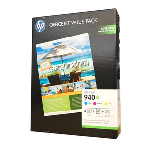 HP # 940XL Ink Value Pack - C / M / Y plus 100 sheets of 210 x 297, 180gsm glossy paper-Blueprint Toners