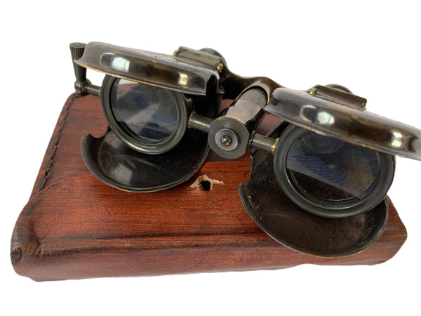 Folding Binoculars with Leather Case