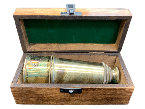 Brass Patina telescope with box