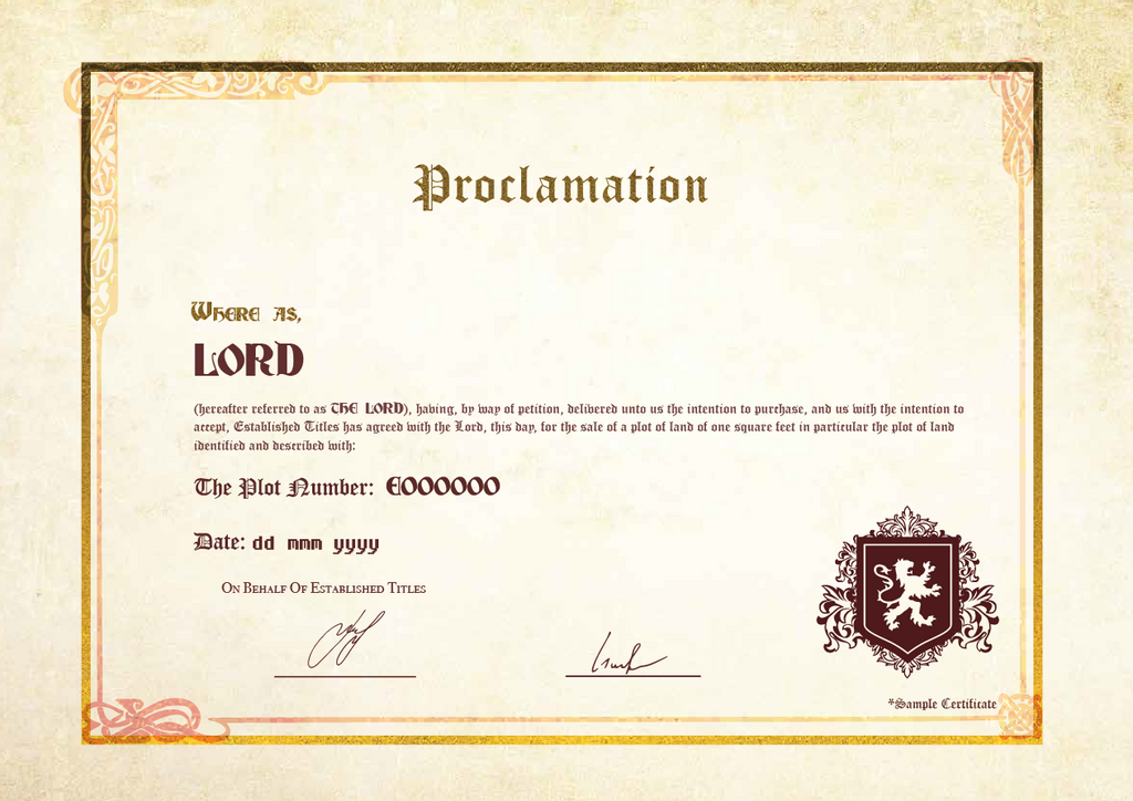 Lordship Title Pack with Free digital certificate