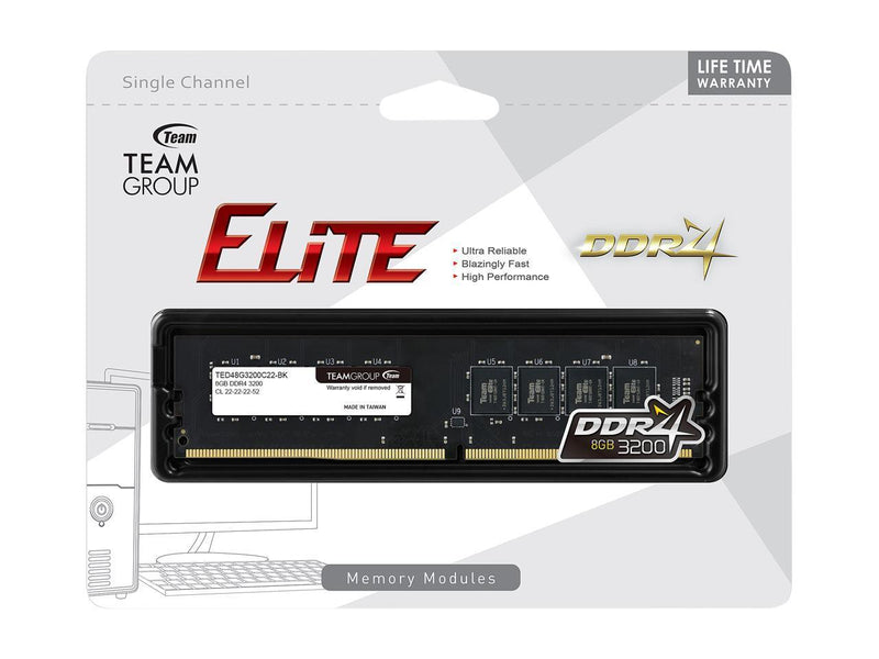 Mémoive Vive Team Elite 8GB 1X8Gb DDR4-3200Mhz DIMM