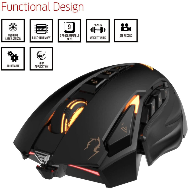 *LIQUIDATION* Souris Gaming USB Gamdias ZEUS eSport Laser 8200dpi 9 Boutons Programmables