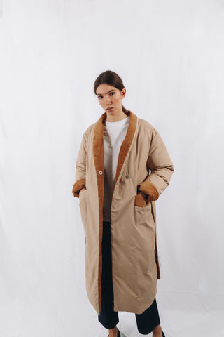 PADDED COAT WITH CORDUROY DETAILS
